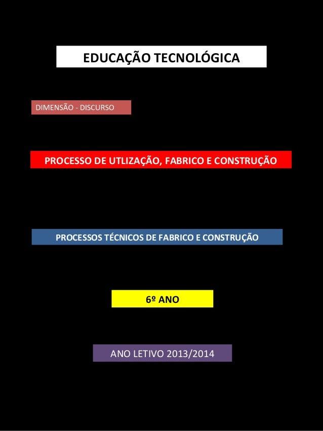 EDUCAÇÃO TECNOLÓGICA  PROCESSO DE UTLIZAÇÃO, FABRICO E CONSTRUÇÃO  PROCESSOS TÉCNICOS DE FABRICO E CONSTRUÇÃO  6º ANO  ANO...