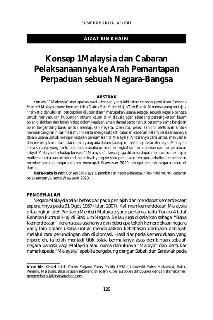 SOSIOHUMANIKA, 4(1) 2011                                AIZAT BIN KHAIRI       Konsep 1Malaysia dan Cabaran    Pelaksanaan...