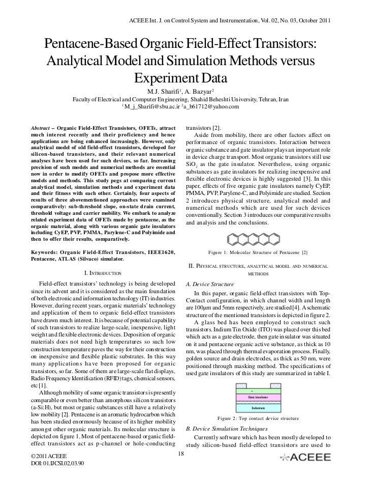 ACEEE Int. J. on Control System and Instrumentation, Vol. 02, No. 03, October 2011     Pentacene-Based Organic Field-Effec...
