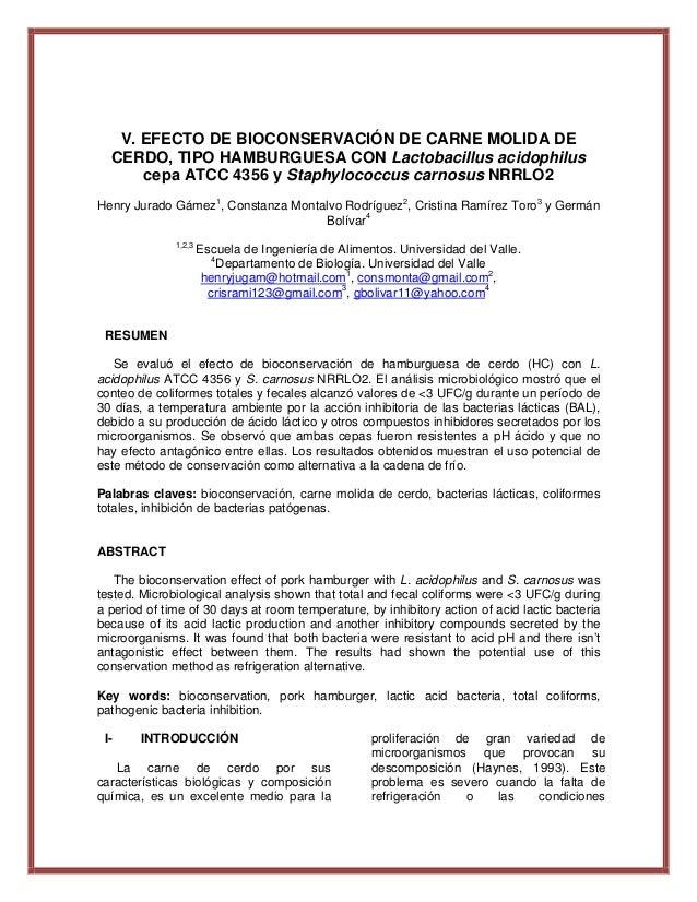 V. EFECTO DE BIOCONSERVACIÓN DE CARNE MOLIDA DE CERDO, TIPO HAMBURGUESA CON Lactobacillus acidophilus cepa ATCC 4356 y Sta...