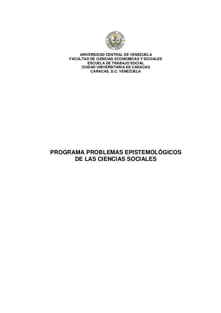 UNIVERSIDAD CENTRAL DE VENEZUELA    FACULTAD DE CIENCIAS ECONOMICAS Y SOCIALES            ESCUELA DE TRABAJO SOCIAL       ...