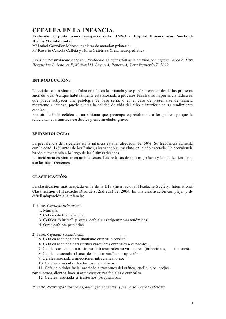 CEFALEA EN LA INFANCIA.Protocolo conjunto primaria–especializada. DANO - Hospital Universitario Puerta deHierro Majadahond...