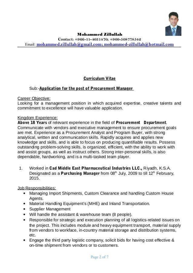 procurement resume objective resume templates international trade