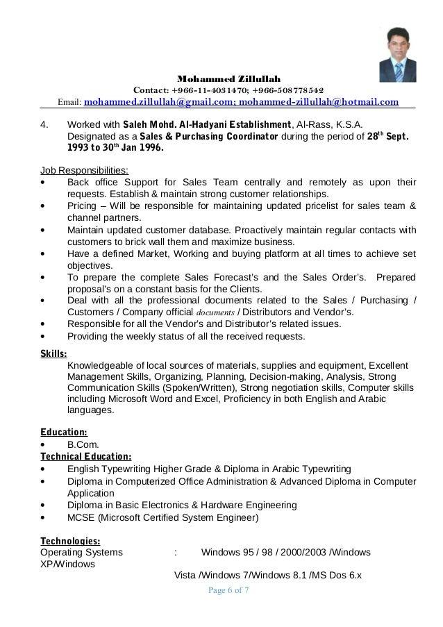 Resume for procurement manager