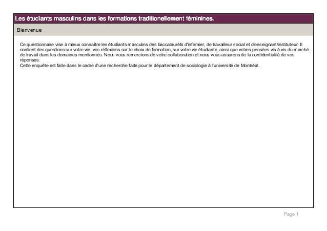 Page 1 Les ètudiants masculins dans les formations traditionellement féminines.Les ètudiants masculins dans les formations...
