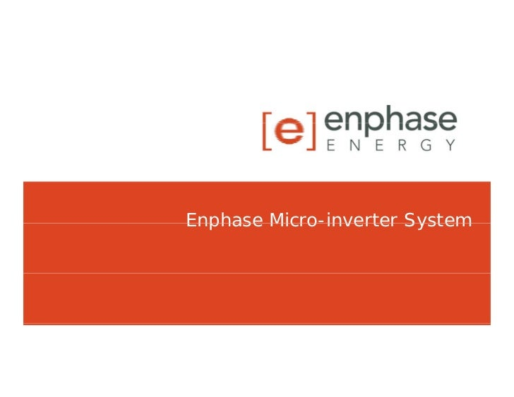 Enphase Micro-inverter System         Micro inverter