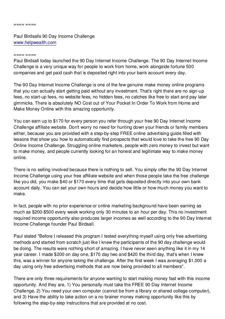 Paul Birdsalls 90 Day Internet Challenge Review