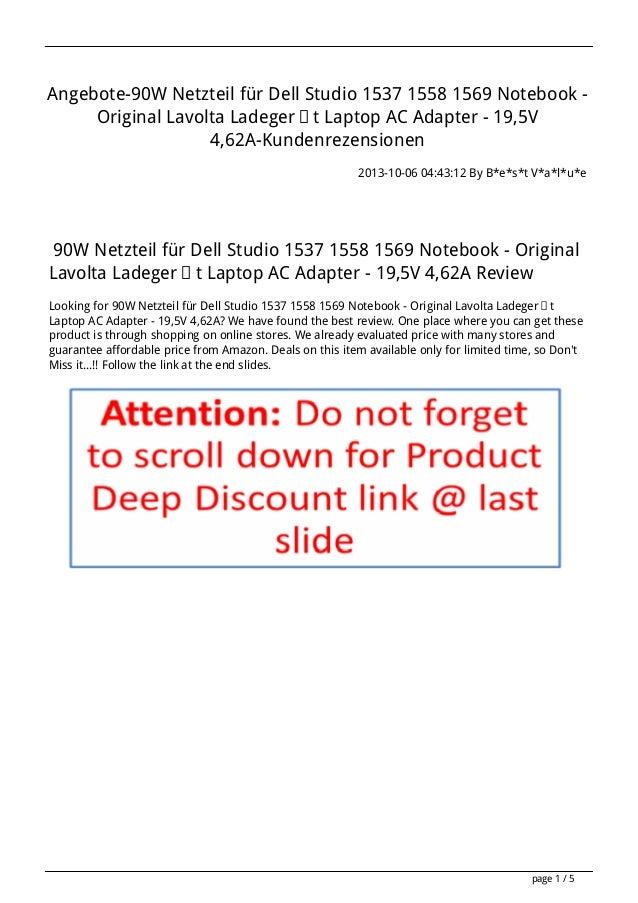 Angebote-90W Netzteil für Dell Studio 1537 1558 1569 Notebook - Original Lavolta Ladegerät Laptop AC Adapter - 19,5V 4,62A...