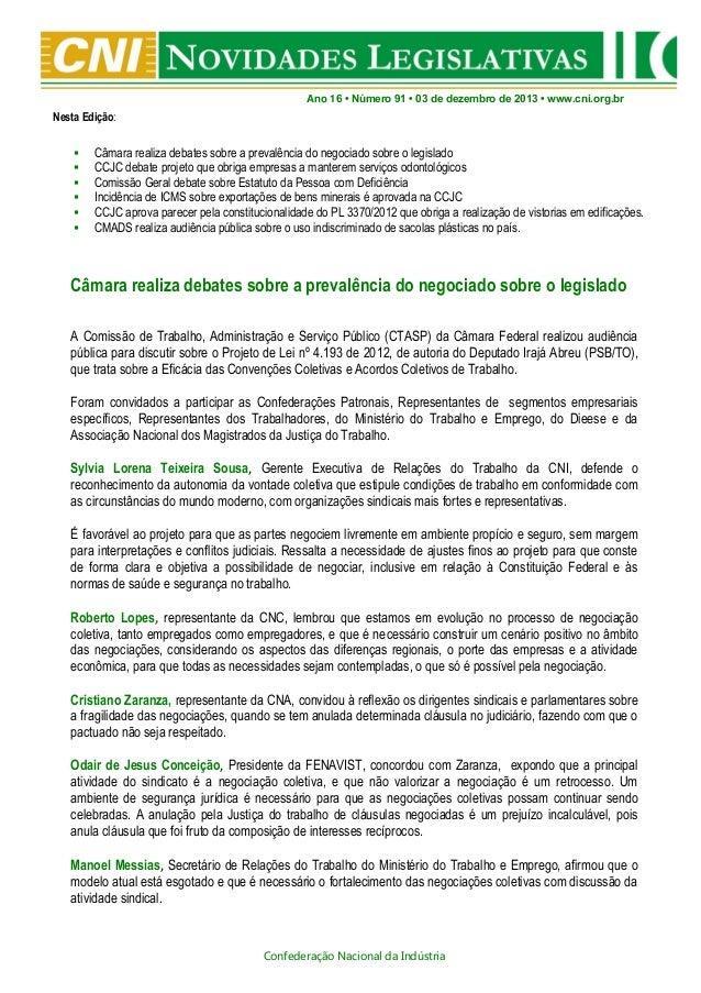 Novidades Legislativas Nº 91   03/12/2013