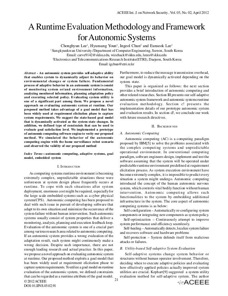 ACEEE Int. J. on Network Security , Vol. 03, No. 02, April 2012  A Runtime Evaluation Methodology and Framework           ...