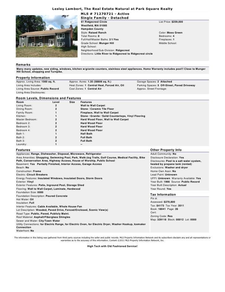 Lesley Lambert, The Real Estate Natural at Park Square Realty                                                     MLS # 71...
