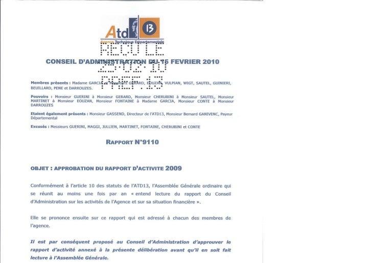 9110   approbation rapport d'activite - 2009