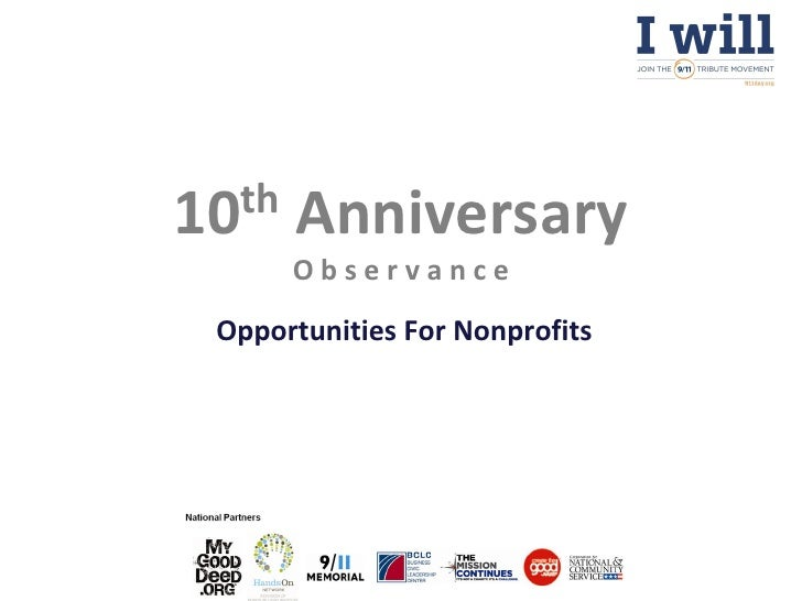10th   Anniversary       Observance Opportunities For Nonprofits