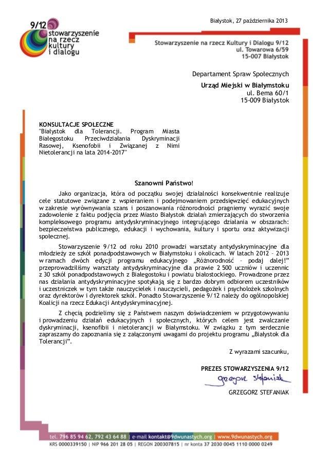 Białystok, 27 października 2013  Departament Spraw Społecznych Urząd Miejski w Białymstoku ul. Bema 60/1 15-009 Białystok ...