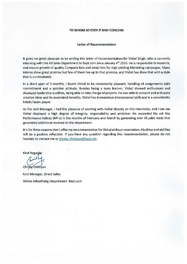 letter of recommendation by unit manager