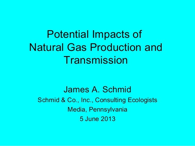 Potential Impacts ofNatural Gas Production andTransmissionJames A. SchmidSchmid & Co., Inc., Consulting EcologistsMedia, P...