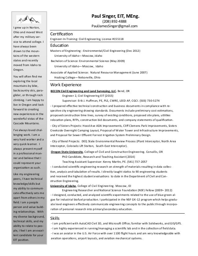 Eit engineer in training resume