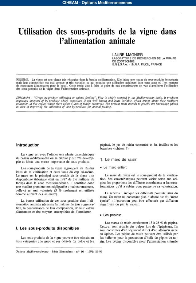 CIHEAM - Options Mediterraneennes Utilisationdessous-produitsdelavignedans              l'alimentationanimale             ...
