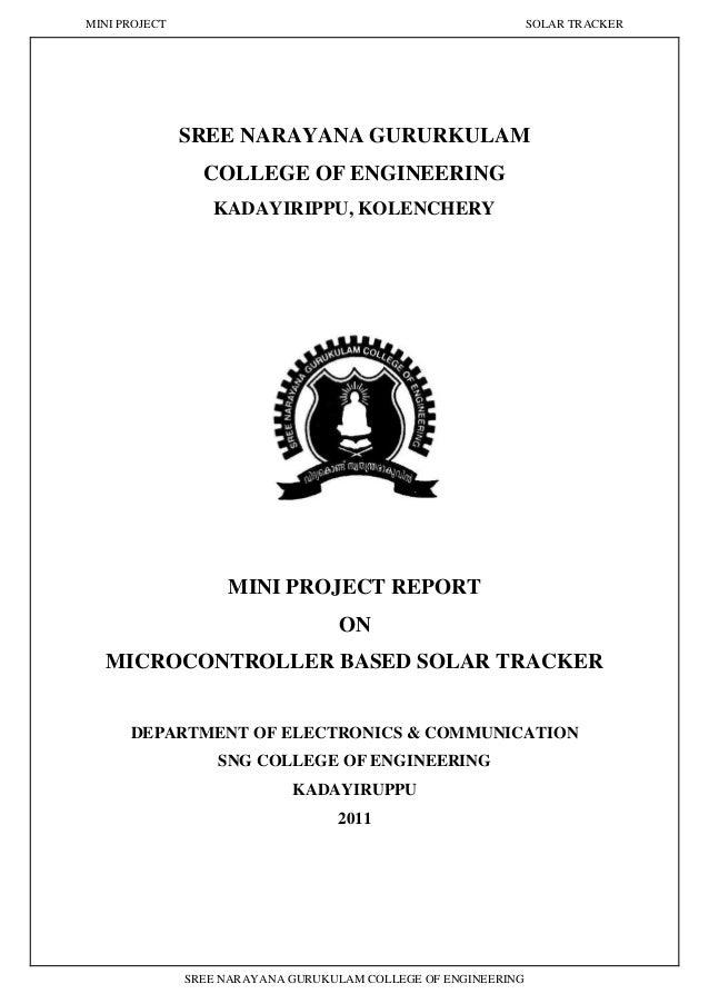 MINI PROJECT SOLAR TRACKER SREE NARAYANA GURUKULAM COLLEGE OF ENGINEERING SREE NARAYANA GURURKULAM COLLEGE OF ENGINEERING ...