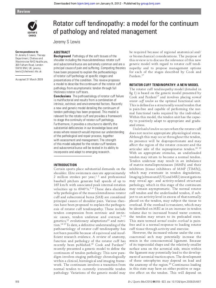 Downloaded from bjsm.bmj.com on January 9, 2012 - Published by group.bmj.com Review                              Rotator c...
