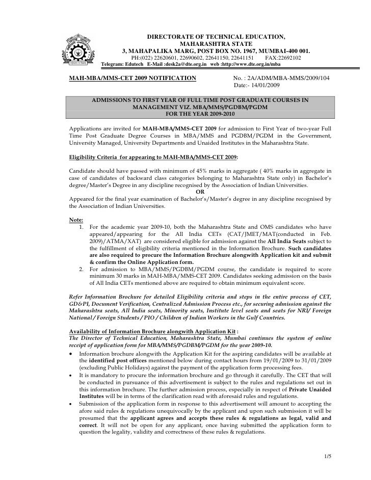 Notification_of_MBA-MMS__CET_Application_2009-10