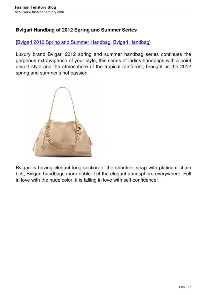 Bvlgari Handbag of 2012 Spring and Summer Series