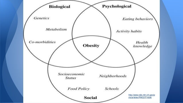 the biopsychosocial factors to obesity Psychosocial factors in obesity obesity is strongly related to sociocultural factors in western countries obesity is commoner in lower than in higher social.