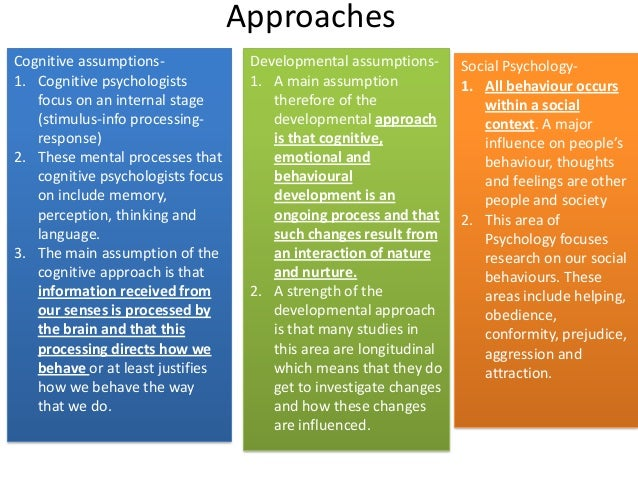 ApproachesCognitive assumptions-1. Cognitive psychologistsfocus on an internal stage(stimulus-info processing-response)2. ...