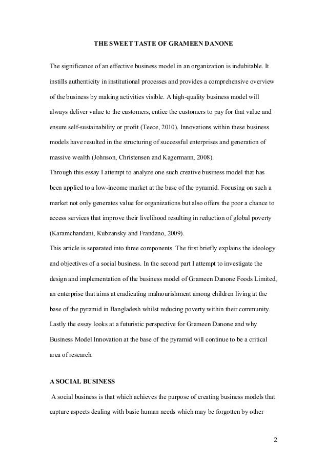 Grameen danone case study