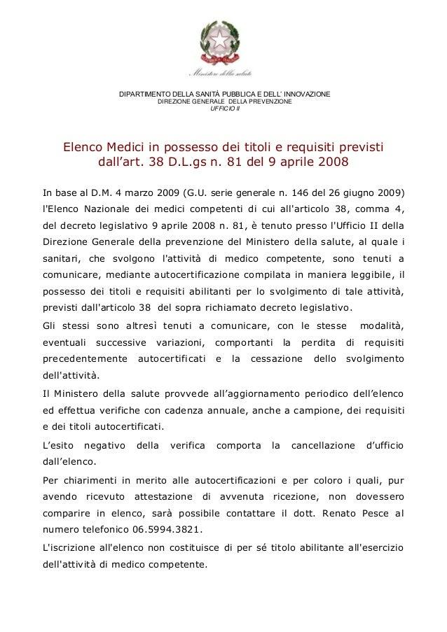 DIPARTIMENTO DELLA SANITÀ PUBBLICA E DELL' INNOVAZIONE                           DIREZIONE GENERALE DELLA PREVENZIONE     ...