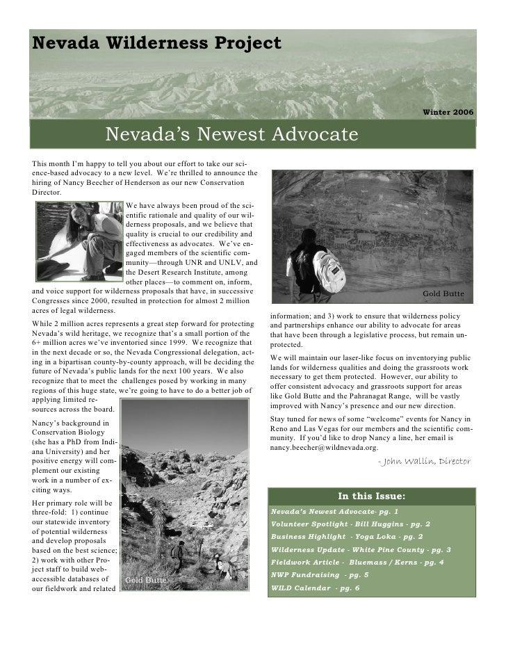 Winter 2006 Nevada Wilderness Project Newsletter