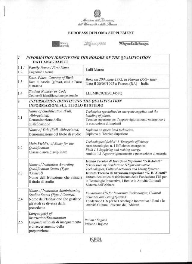 Europass Diploma ITS Supplement