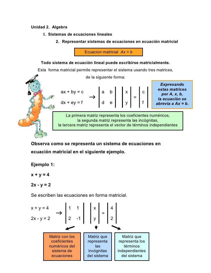 Unidad 2. Algebra      I. Sistemas de ecuaciones lineales             2. Representar sistemas de ecuaciones en ecuación ma...