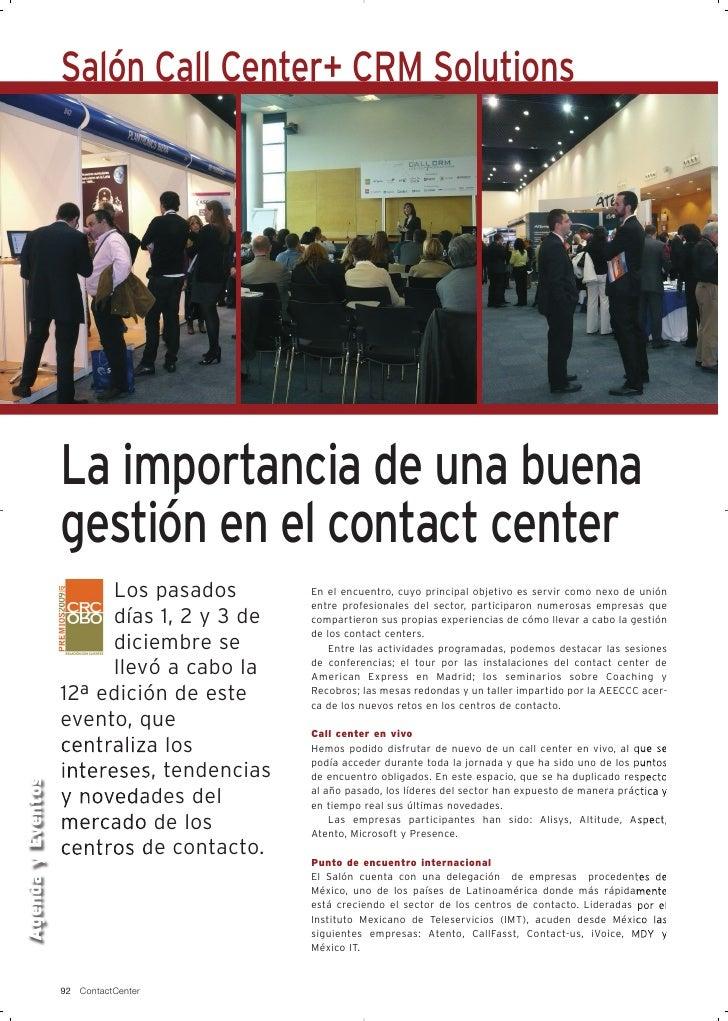 Salón Call Center+ CRM Solutions                        La importancia de una buena                    gestión en el conta...