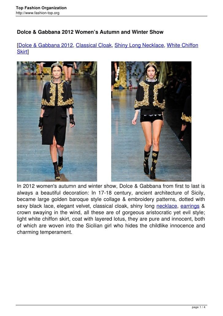 Top Fashion Organizationhttp://www.fashion-top.orgDolce & Gabbana 2012 Women's Autumn and Winter Show[Dolce & Gabbana 2012...