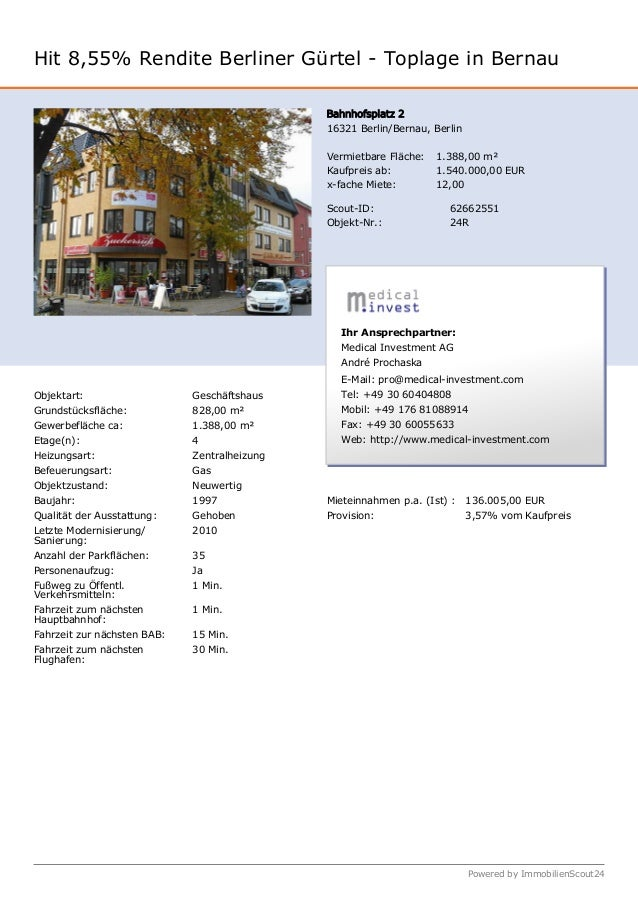 Hit 8,55% Rendite Berliner Gürtel - Toplage in Bernau Bahnhofsplatz 2 16321 Berlin/Bernau, Berlin Vermietbare Fläche: 1.38...