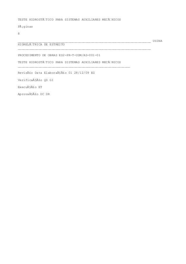 TESTE HIDROSTÁTICO PARA SISTEMAS AUXILIARES MECÁNICOS Páginas 8 _______________________________________________________...