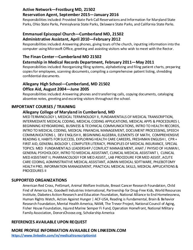 Medical transcription resume help