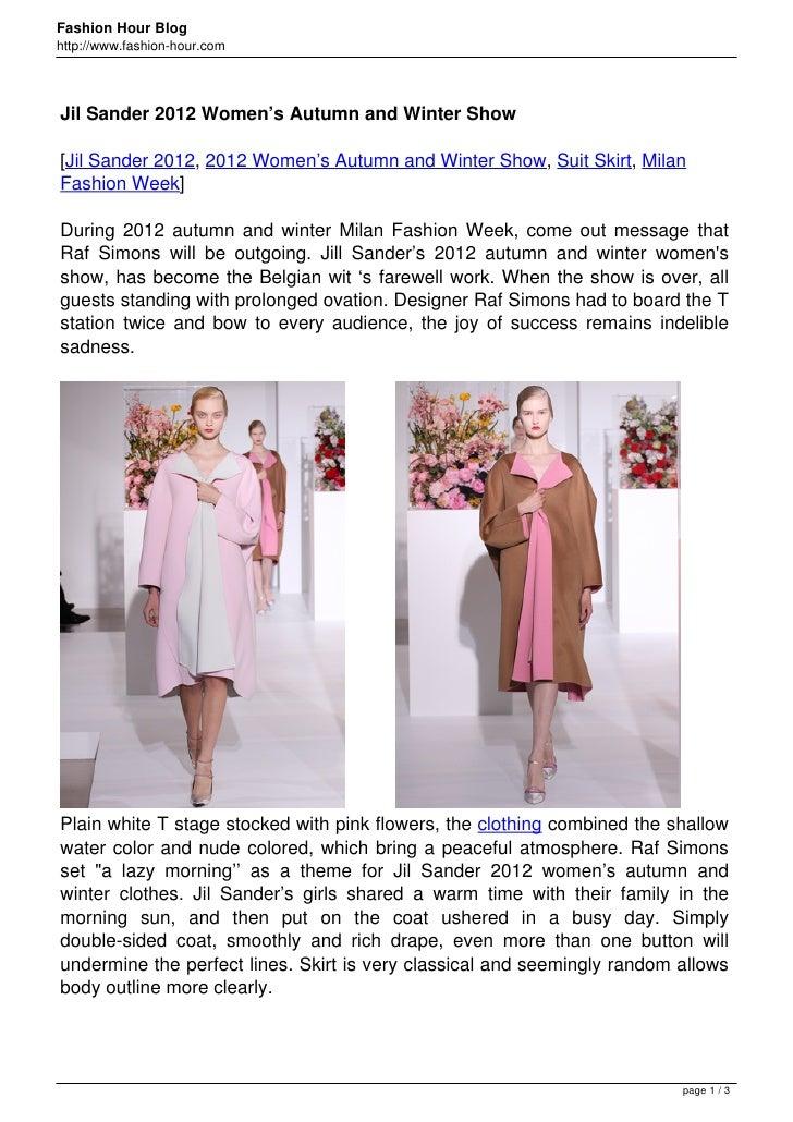 Jil Sander 2012 Women's Autumn and Winter Show