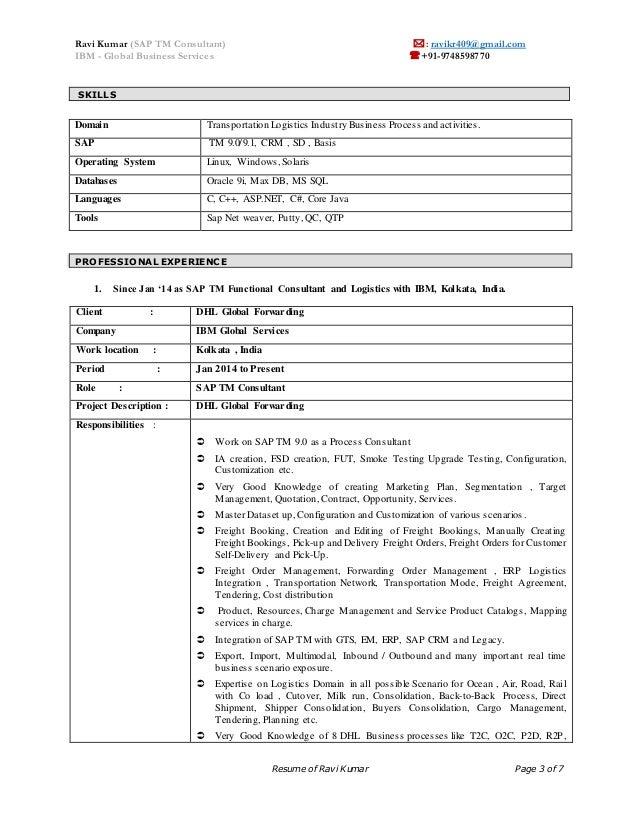 Sap wm functional consultant resume