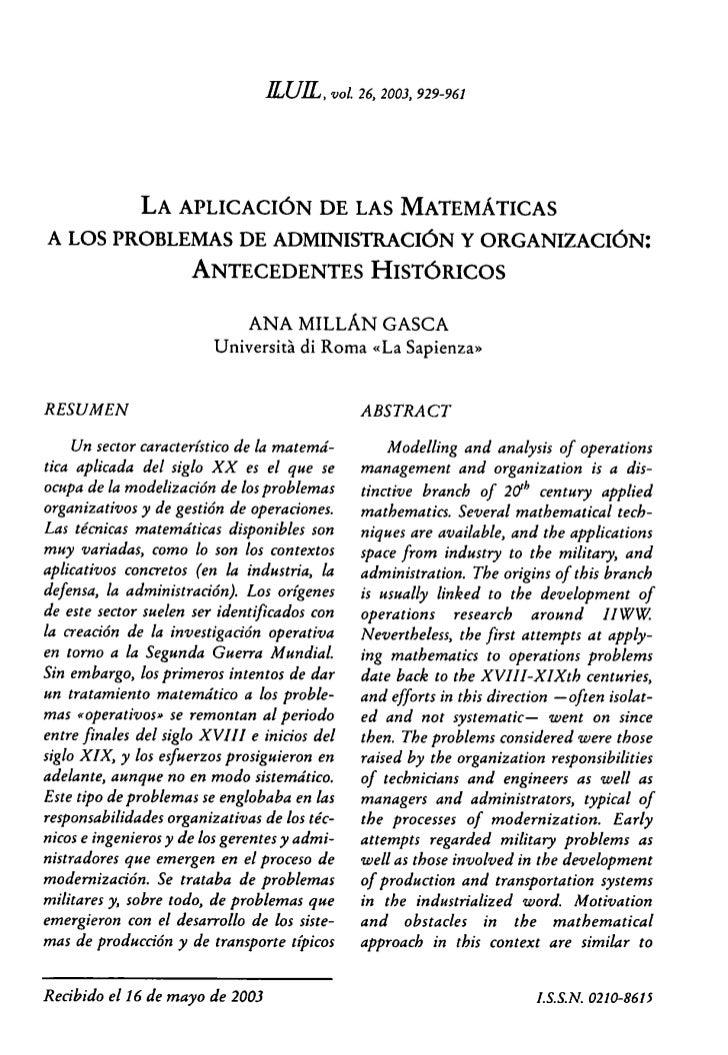 LA APLICACION DE LAS MATEMATICAS A  LOS PROBLEMAS DE ADMINISTRACION Y ORGANIZACION: ANTECEDENTES HISTORICOS
