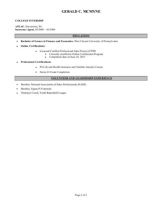 gerald mcmyne resume