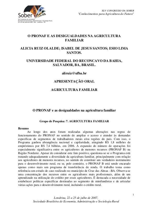 """XLV CONGRESSO DA SOBER                                               """"Conhecimentos para Agricultura do Futuro""""       O PR..."""