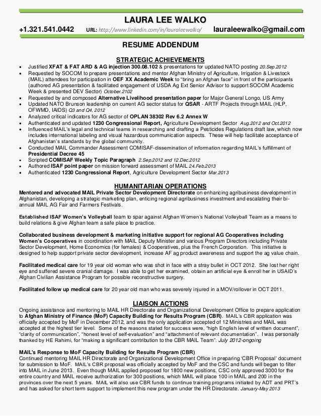 resume addendum strategic achievements summary walko jan2015