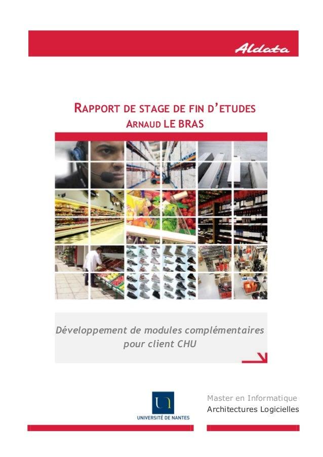 RAPPORT DE STAGE DE FIN D'ETUDES ARNAUD LE BRAS  Développement de modules complémentaires pour client CHU  Master en Infor...
