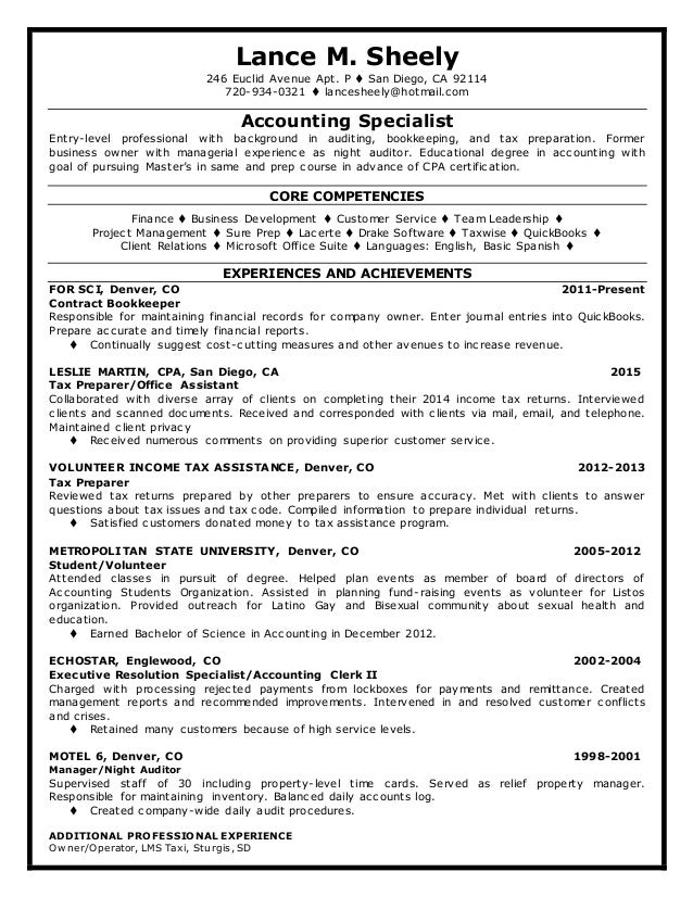 Resume For Tax Assistant Lance M. Sheely 246 Euclid Avenue Apt. P  San Diego, CA 92114
