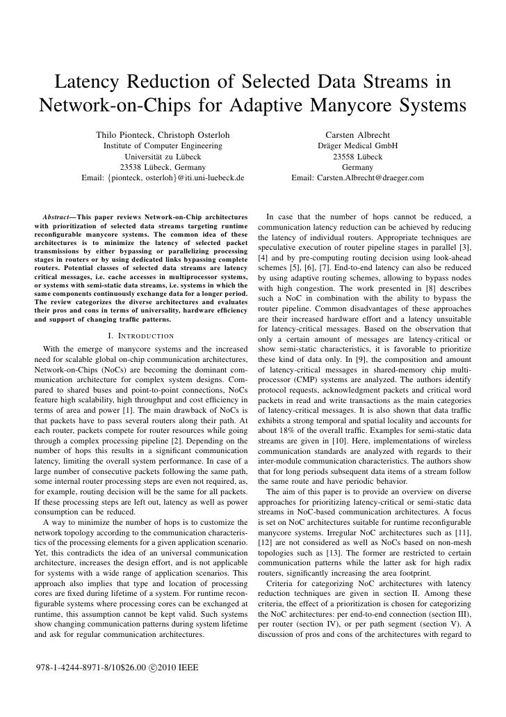 Latency Reduction of Selected Data Streams in Network-on-Chips for Adaptive Manycore Systems                   Thilo Piont...