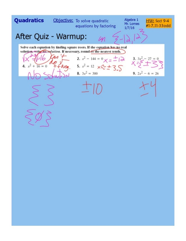 9 4 Solving Quadratics By Factoring Pdf