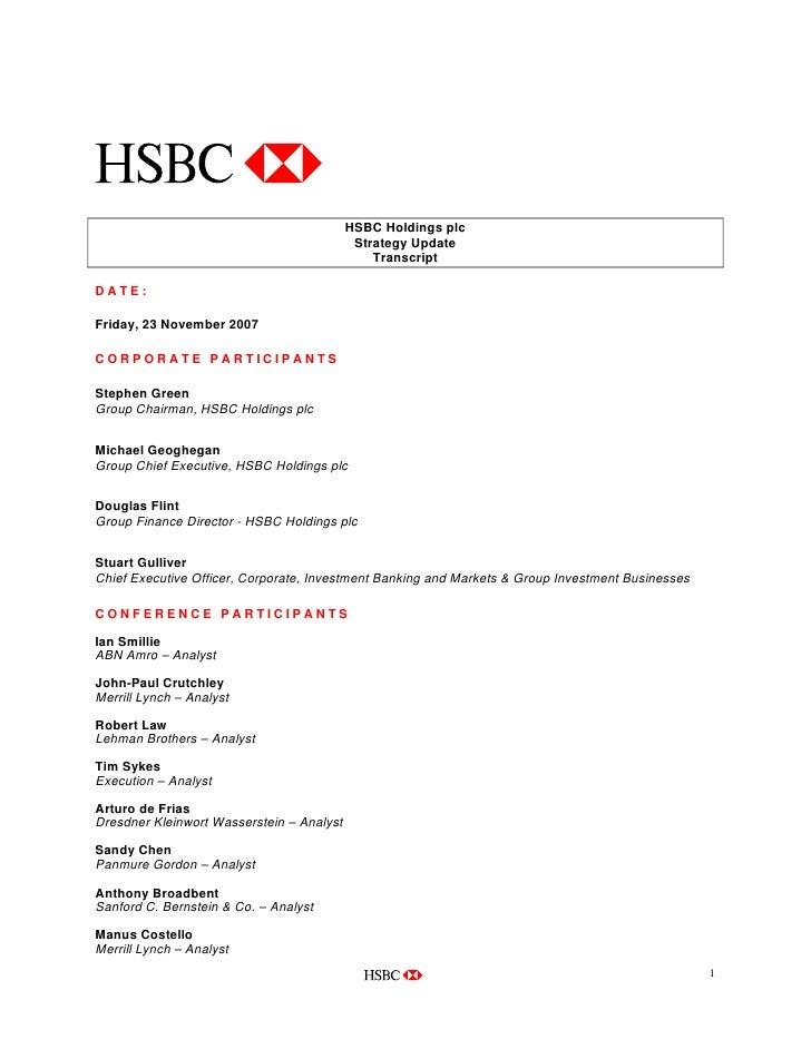 HSBC Holdings plc                                             Strategy Update                                             ...