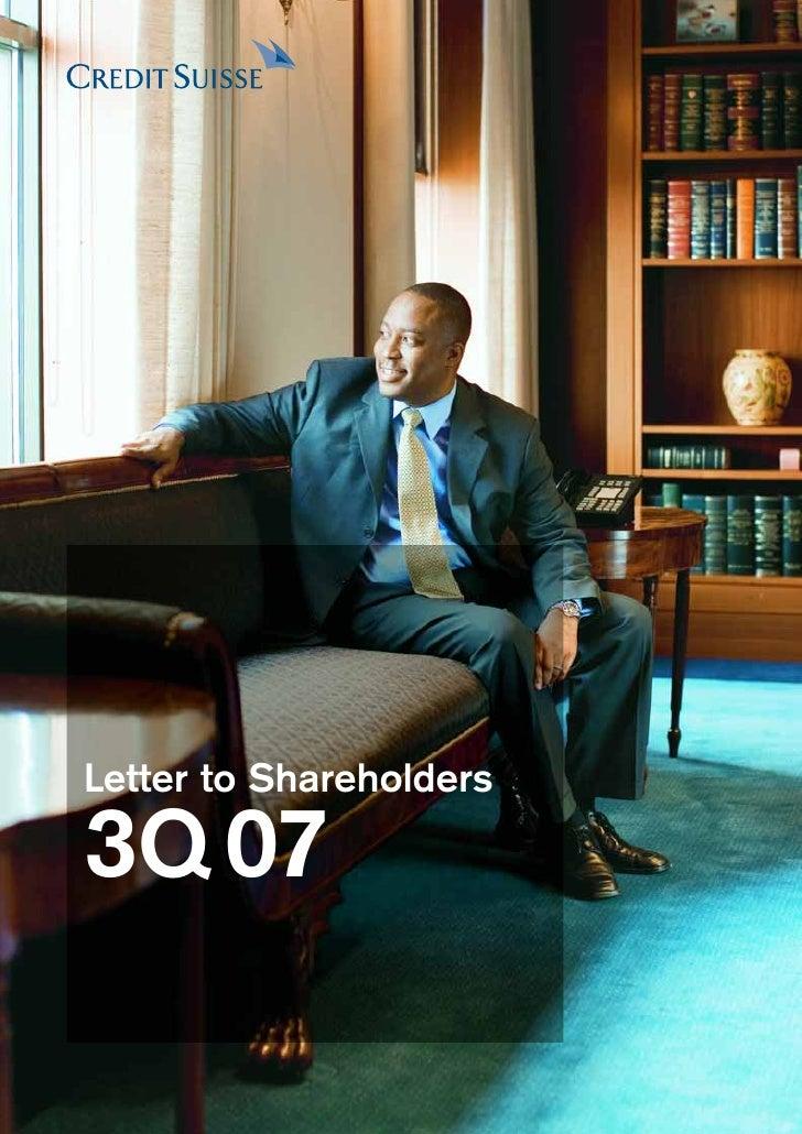 Letter to Shareholders  3Q 07